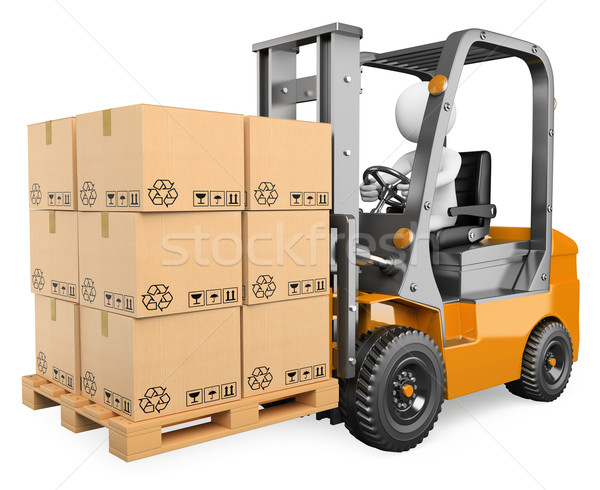 3D white people. Forklift with a pallet Stock photo © texelart