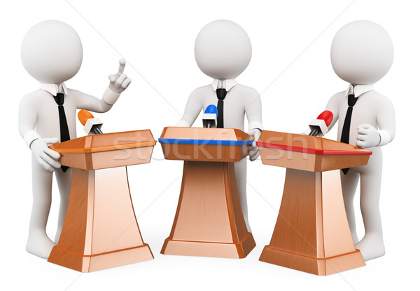 3D white people. Political debate Stock photo © texelart