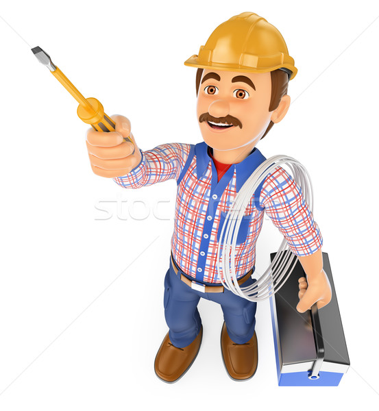 3D Electrician with a screwdriver and toolbox Stock photo © texelart