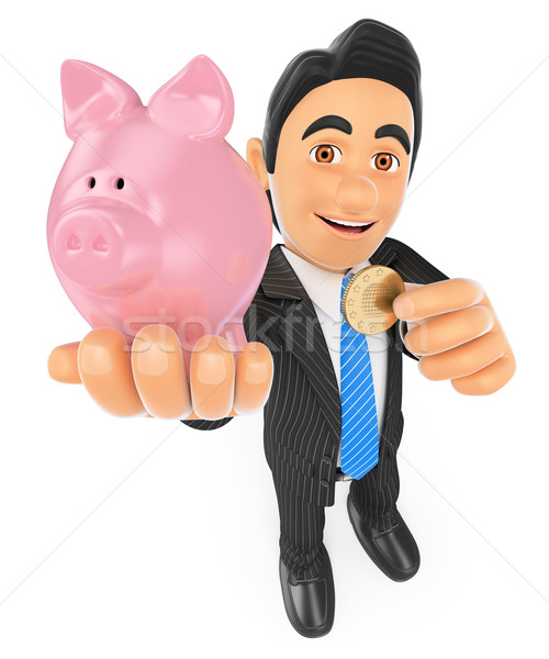 3D Businessman putting a coin in a piggy bank. Concept of saving Stock photo © texelart