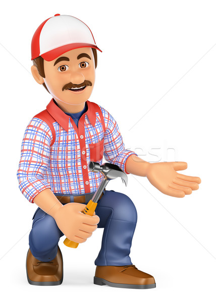 3D Handyman squatting with a hammer pointing to side Stock photo © texelart