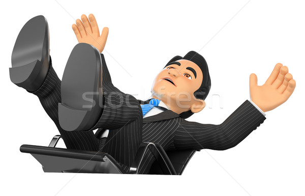 3D Businessman scared falling off his office chair Stock photo © texelart