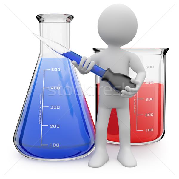 Chemiker posiert Test Rohre gerendert groß Stock foto © texelart