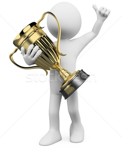 3D Winner with a gold trophy in the hands Stock photo © texelart