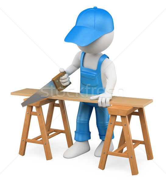 3D white people. Carpenter cutting wood with a handsaw Stock photo © texelart