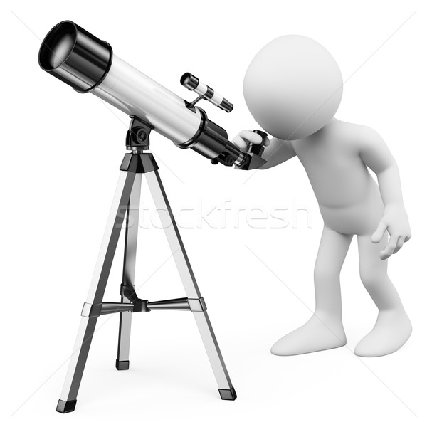 3D biali ludzie człowiek patrząc teleskop odizolowany Zdjęcia stock © texelart