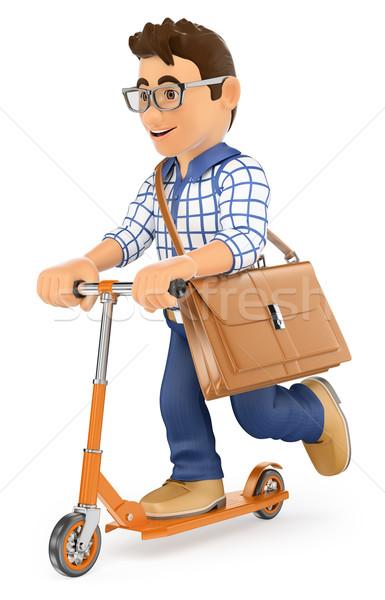 3D fiatalember munka rúgás moped fiatalok Stock fotó © texelart