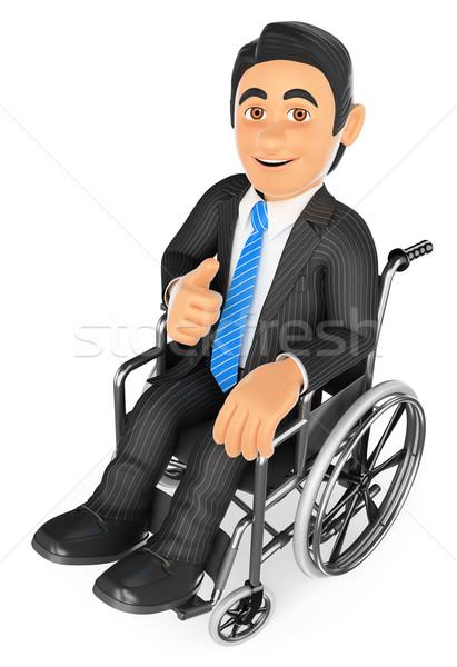 ストックフォト: 3D · 障害者 · ビジネスマン · 親指 · アップ · ビジネスの方々 ·