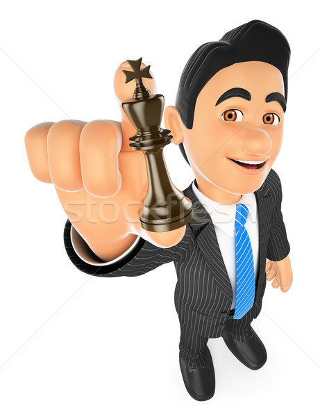 3D Businessman with chess king. Strategist Stock photo © texelart