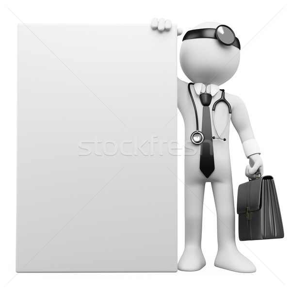 3D family doctor with a blank poster Stock photo © texelart