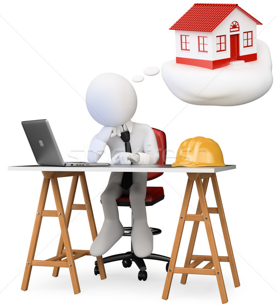 Stock photo: 3D business white people. Architect dreaming about his new proje
