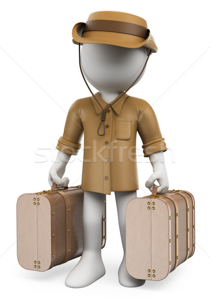3D white people. Vintage traveler with two suitcases Stock photo © texelart