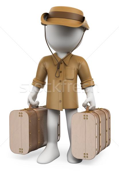 3D fehér emberek klasszikus utazó kettő bőröndök Stock fotó © texelart