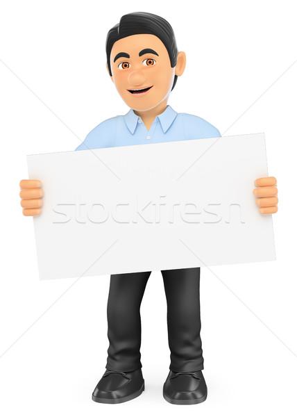 3D technologia informacyjna technik plakat pracy ludzi Zdjęcia stock © texelart