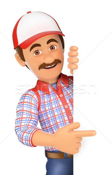 3D Handyman pointing aside with finger Stock photo © texelart