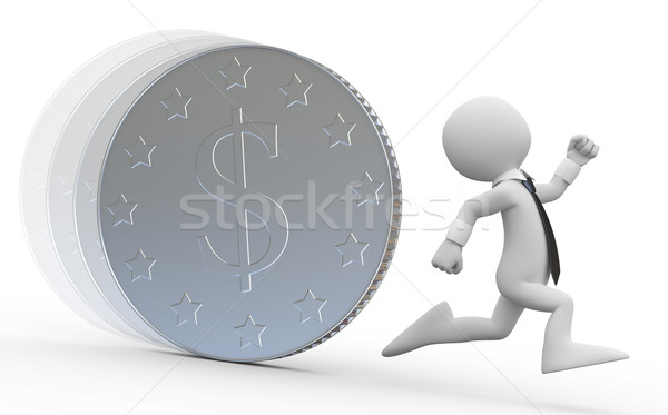 Stock photo: A business man running from a huge coin with the dollar symbol