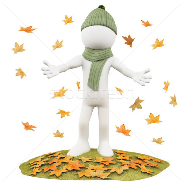 Seasons. Autumn. Man with scarf and wool hat  between the leaves falling from trees Stock photo © texelart