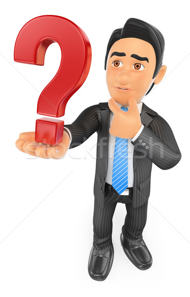 3D Businessman doubtful with a question mark Stock photo © texelart