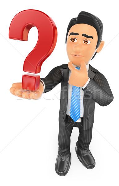3D zakenman twijfelachtig vraagteken zakenlieden geïsoleerd Stockfoto © texelart