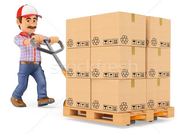 3D Kurier schieben LKW Boxen Stock foto © texelart
