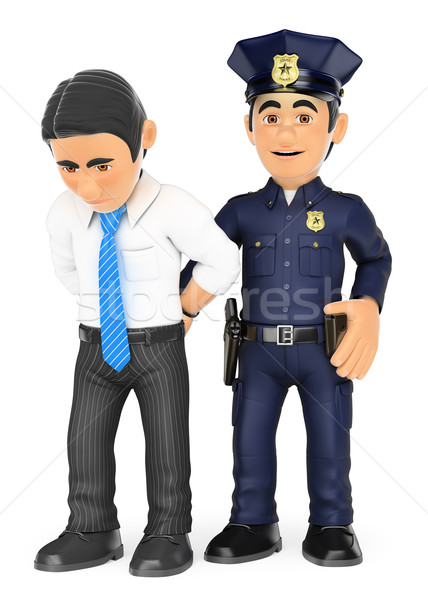 3D Policeman arresting a thief. White collar criminal Stock photo © texelart