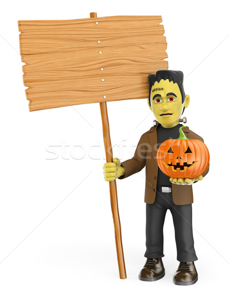 3D Funny monster. Frankenstein with a blank wooden sign and a pu Stock photo © texelart