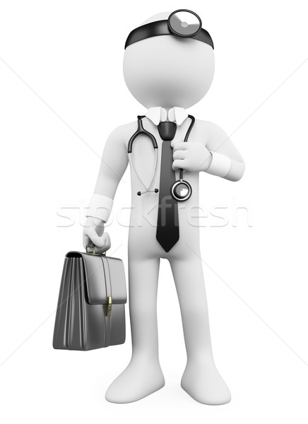3D Doctor with a briefcase and a stethoscope Stock photo © texelart