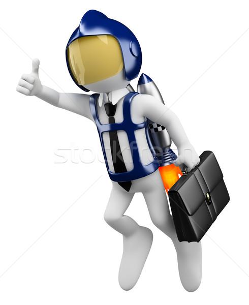 3D white people. Future businessman flying Stock photo © texelart