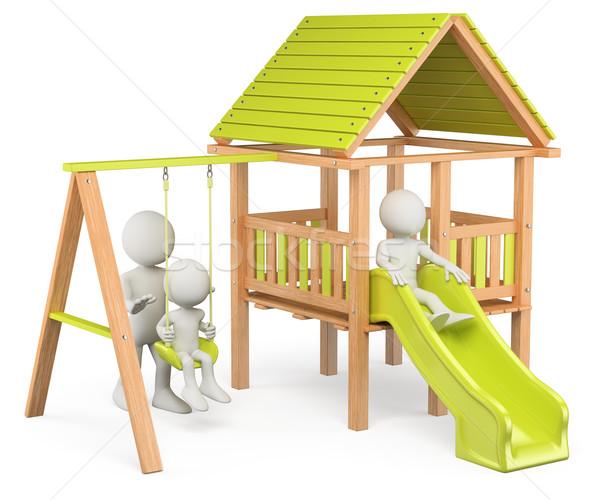 3D biali ludzie dzieci gry boisko odizolowany Zdjęcia stock © texelart