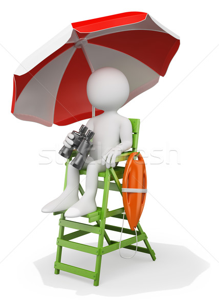 3D white people. Lifeguard at the beach with binoculars and resc Stock photo © texelart