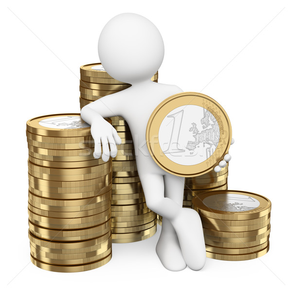 3D white people. Man with piles of euro coins Stock photo © texelart