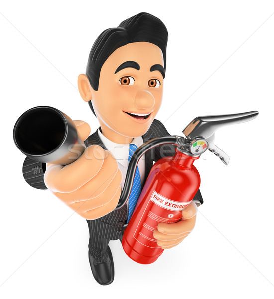 3D Businessman with a fire extinguisher. Occupational risk preve Stock photo © texelart