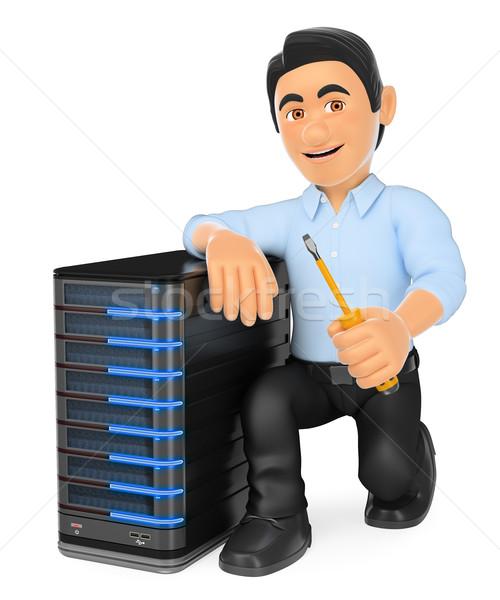 3D tecnología de la información técnico servidor de trabajo personas Foto stock © texelart