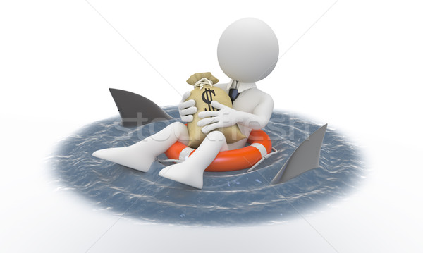 Businessman protecting his money from sharks Stock photo © texelart