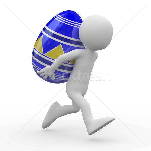 Stock fotó: Férfi · fut · hatalmas · húsvéti · tojás · hát · renderelt