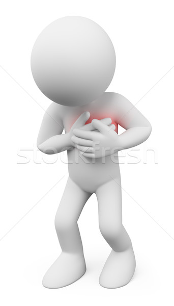 3D white people. Man with a heart attack Stock photo © texelart