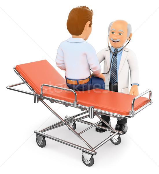3D Doctor auscultating a patient on a gurney Stock photo © texelart