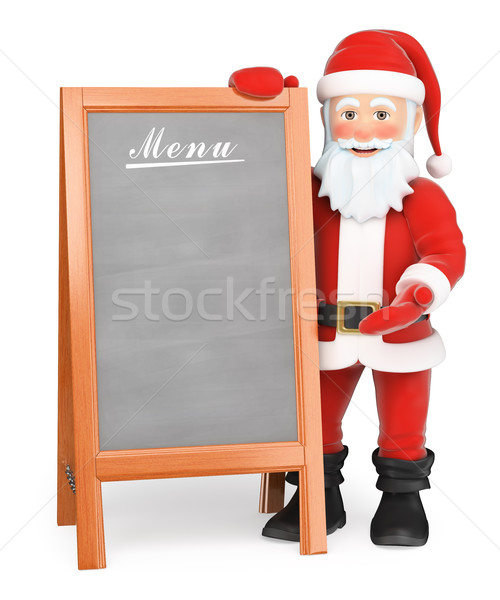 3D Santa Claus with blank wooden poster menu Stock photo © texelart