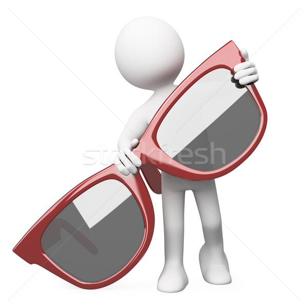 Człowiek stwarzające ogromny czerwony okulary świadczonych Zdjęcia stock © texelart