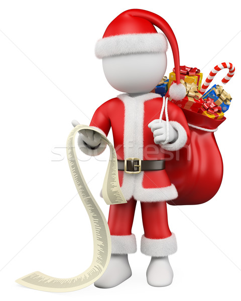 3D Christmas white people. Santa Claus reading the list of gifts Stock photo © texelart