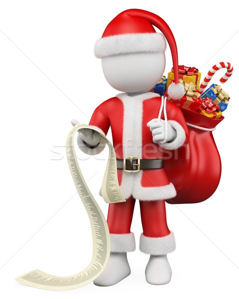 3D Noel beyaz insanlar noel baba okuma liste Stok fotoğraf © texelart