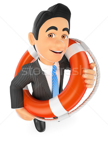3D Businessman with a lifesaver. Bailout. Financial rescue Stock photo © texelart