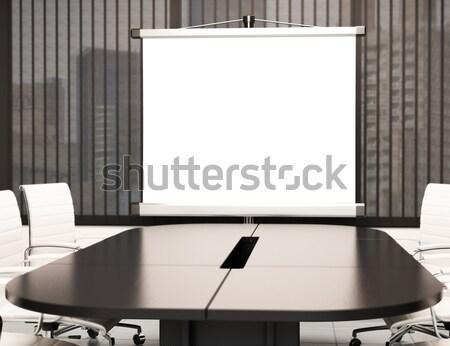 3D Modern meeting room with blank projector screen. Mockup Stock photo © texelart