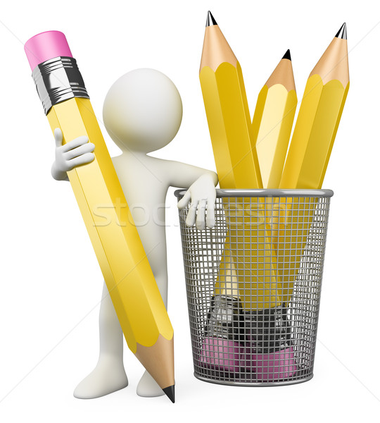 3D Man leaning on pencil holder Stock photo © texelart