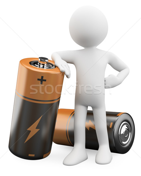 3D Man leaning on a battery Stock photo © texelart