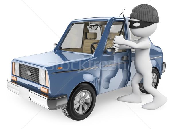 3D witte mensen auto dief geïsoleerd witte Stockfoto © texelart