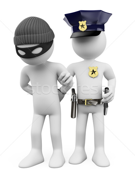 3D white people. Police and thief Stock photo © texelart