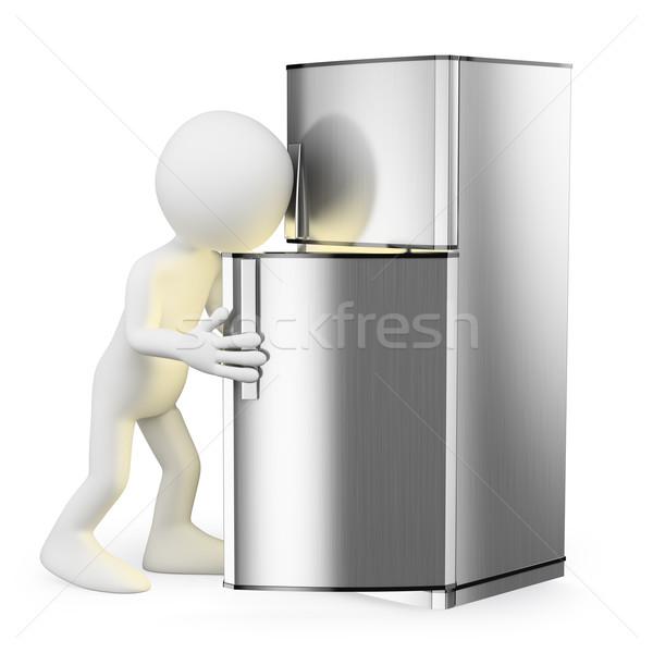 3D white people. Looking in the fridge Stock photo © texelart