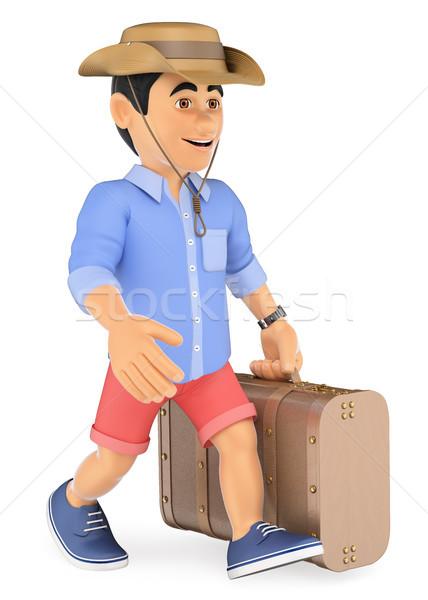 3d ember rövidnadrág sétál retro bőrönd sapka Stock fotó © texelart