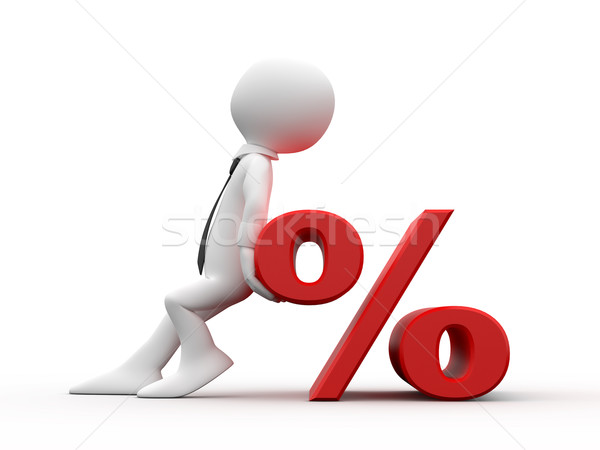 Stock photo: Man with the symbol of the percentage